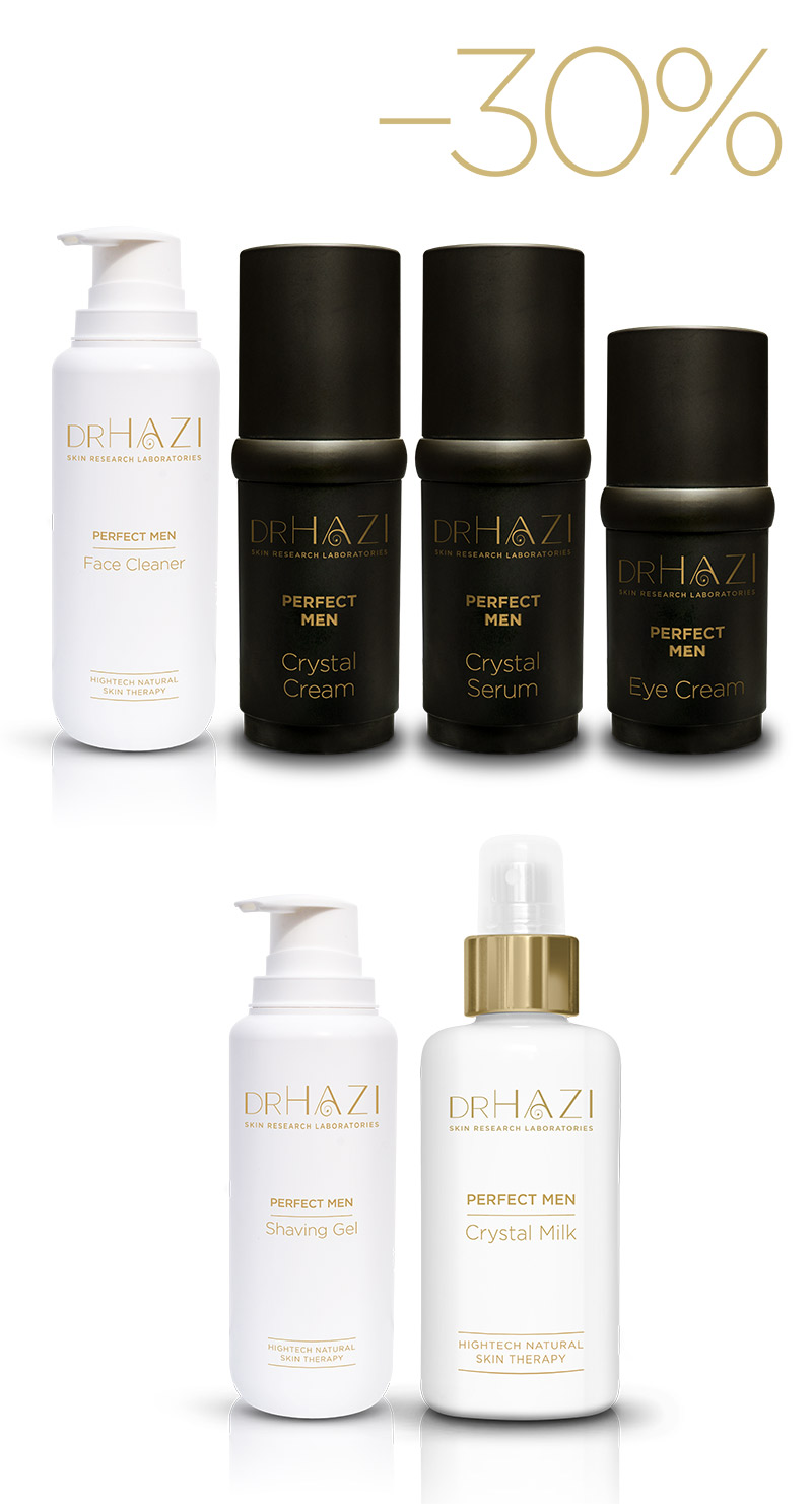 LUXURY men skin rejuvenation with nanopeptides and crystals PERFECT MEN TREATMENT LINE